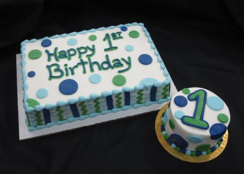 First Birthday Blue and Green with Smash Cake